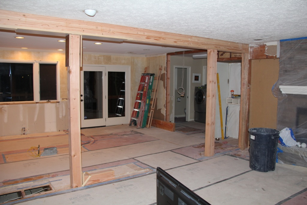 Laurel springs remodel installing beams and removing for How to renovate home