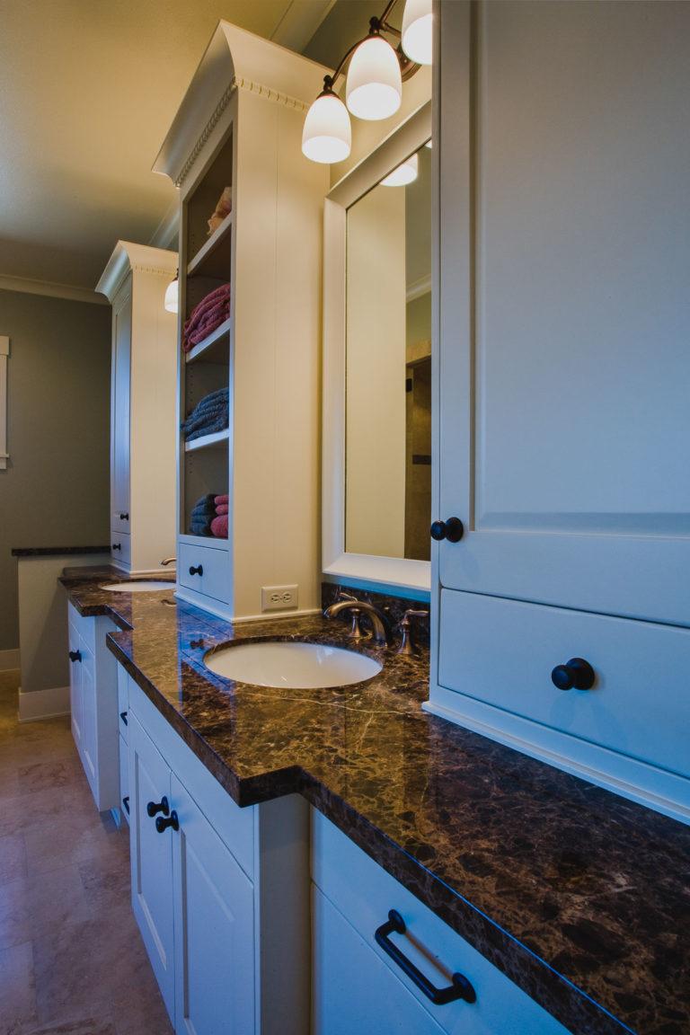 master bath, granite counter, lighting, vanity, cabinetry
