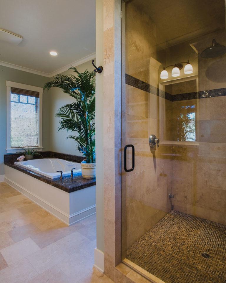 shower door, tile shower, spa tub