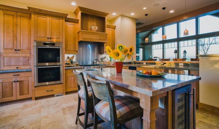 cabinets, Kitchen, granite counter, appliances, range hood