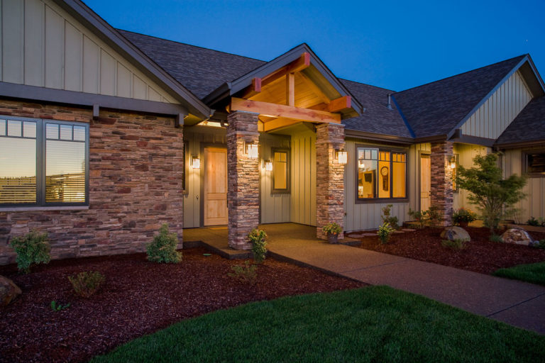 exterior lighting, timber frame, Cultured Stone, porch columns, aluminum clad wood windows
