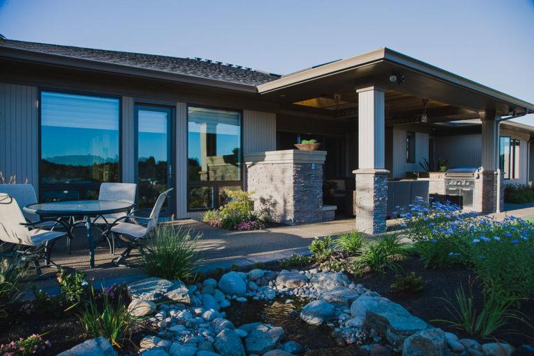 covered patio, outdoor kitchen, fireplace, Milgard fiberglass windows