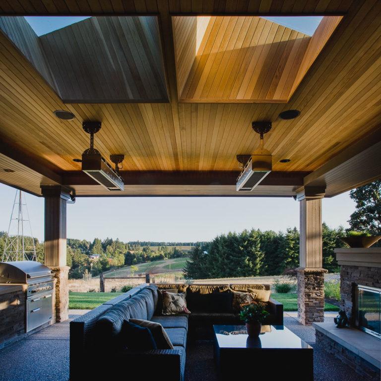 covered patio, T&G cedar ceiling, skylight, outdoor heater, fireplace, BBQ