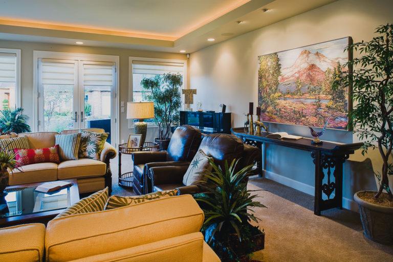Living room, Andersen patio door, lighting trough, recessed light