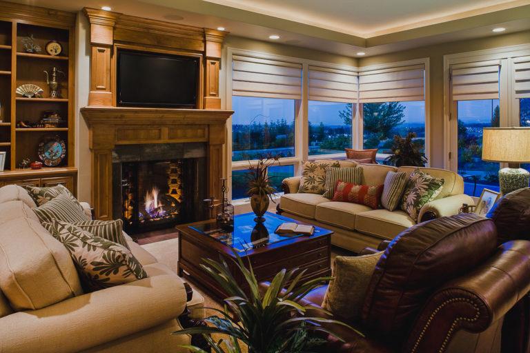 Living room, fireplace, TV alcove, lighting trough, Milgard fiberglass windows