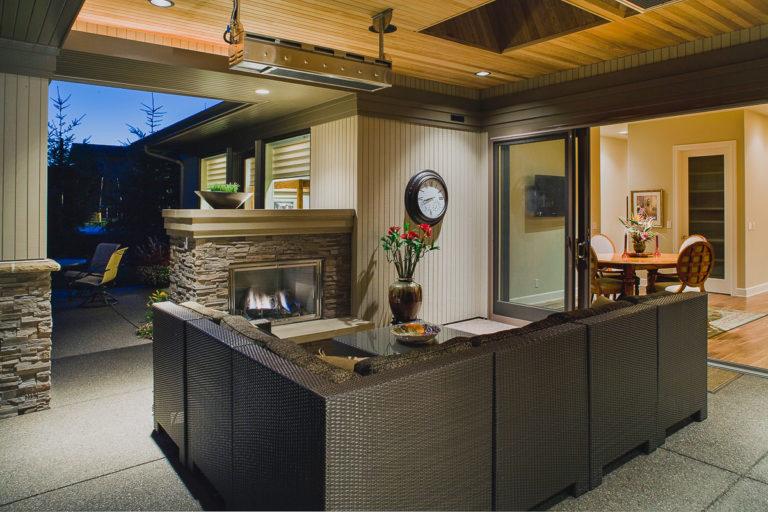 Covered patio, outdoor fireplace, heater, Andersen patio door