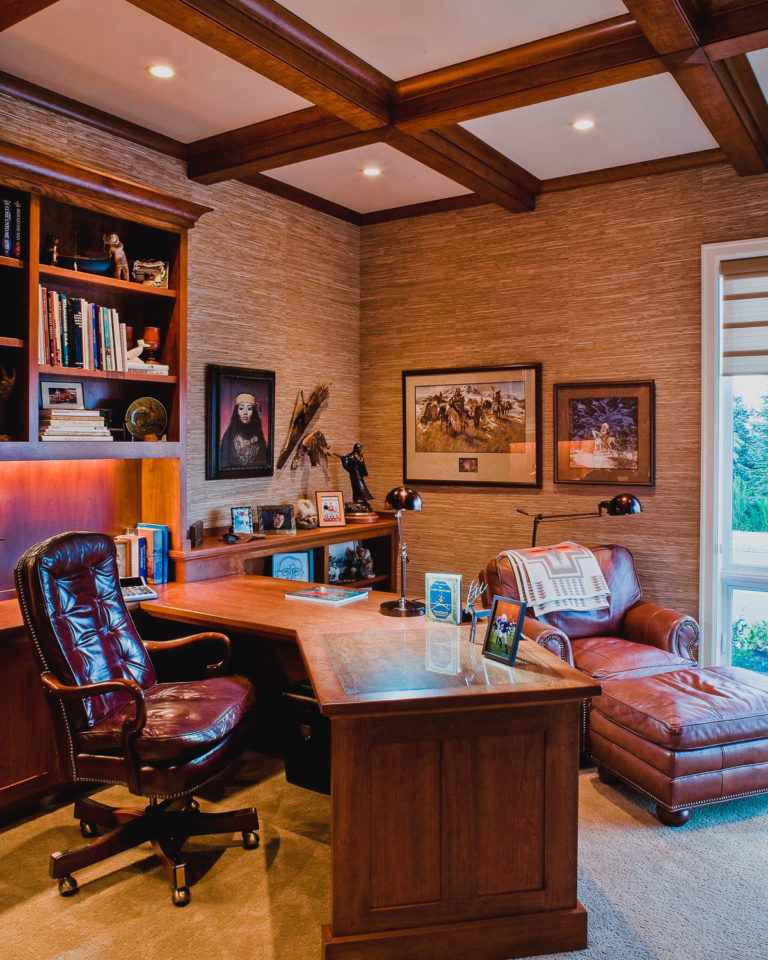 Study, coffered beam ceiling, recessed lighting, built-in desk