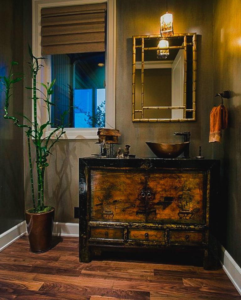 Powder bath, walnut floor, basin sink, antique vanity