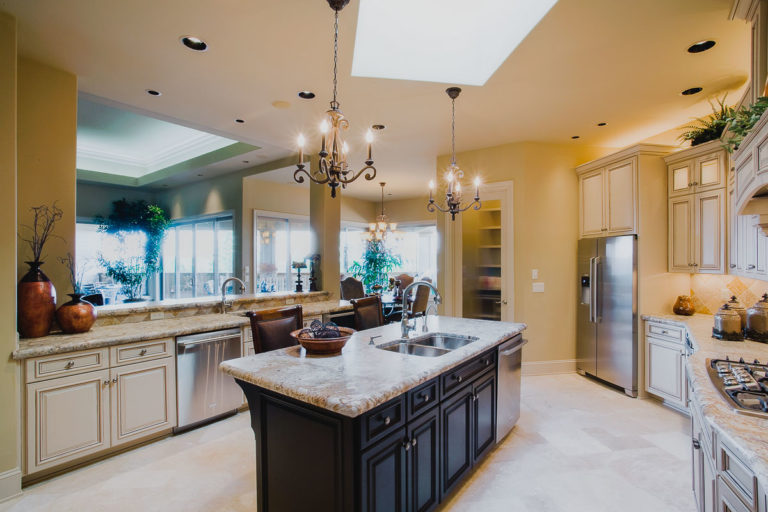kitchen, appliance, antique brushed granite counter, cabinet lighting