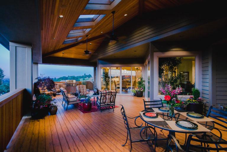 exterior lighting, cedar ceiling, cedar railing, Milgard sliding door, TimberTech decking