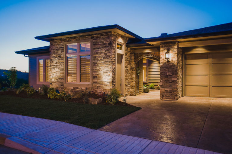 exterior lighting, cultured stone, Milgard window